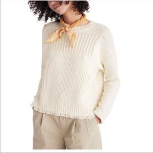 Madewell Ivory Chunky Knit Pullover Sweater. XS